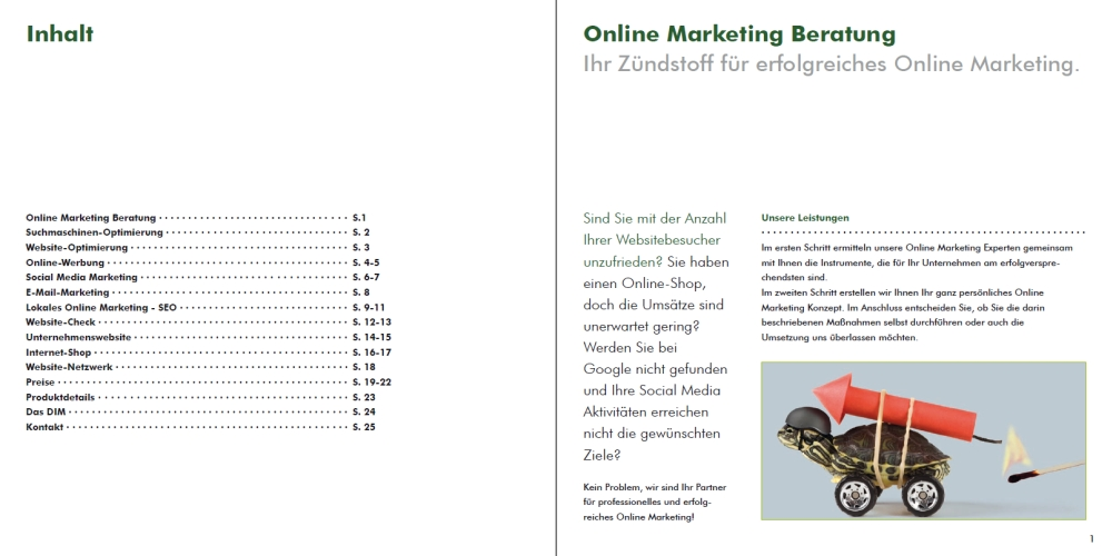 Beispiel Imagebroschüre Online-Marketing DIM