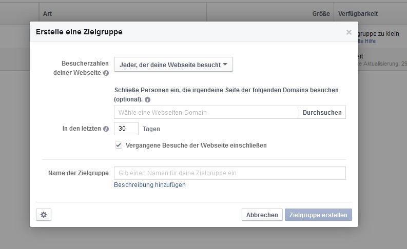 Facebook Remarketing: Zielgruppe anlegen