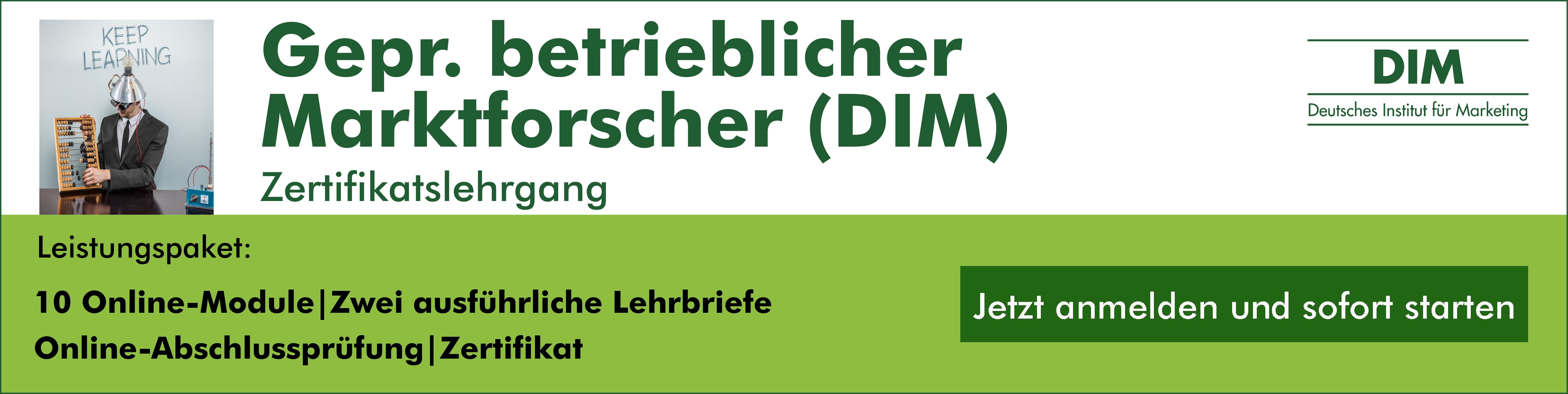 Lehrgang Gepr. betrieblicher Marktforscher (DIM)