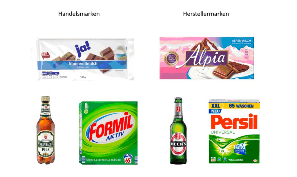 Handelsmarken und Herstellermarken