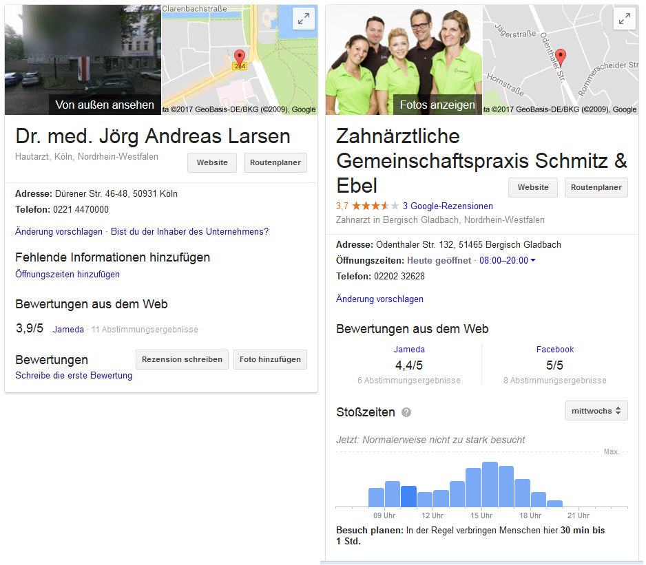 Praxismarketing Google My Business Eintrag
