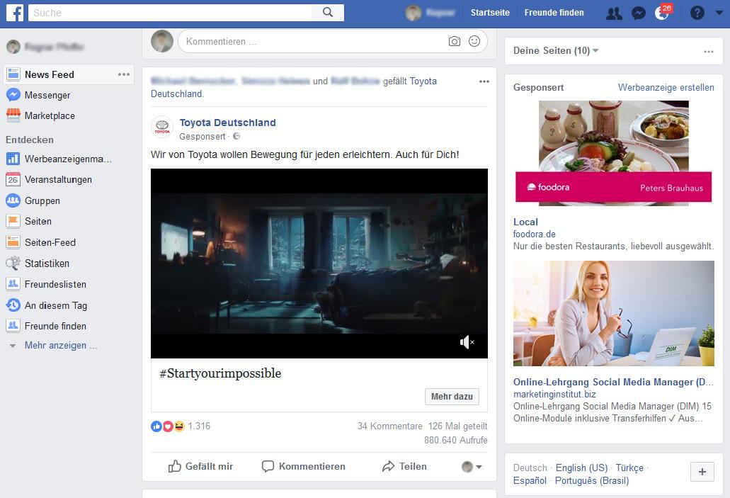 Anzeigen im Facebook Newsfeed