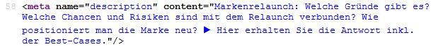 Meta Tags: Meta Description im Quellcode