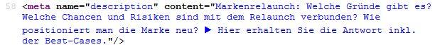 Meta Tags: Meta Description im Quellcode