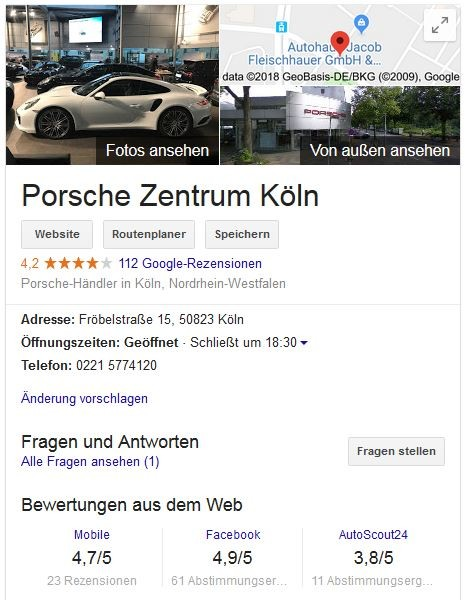 Autohaus Marketing: Google My Business Eintrag