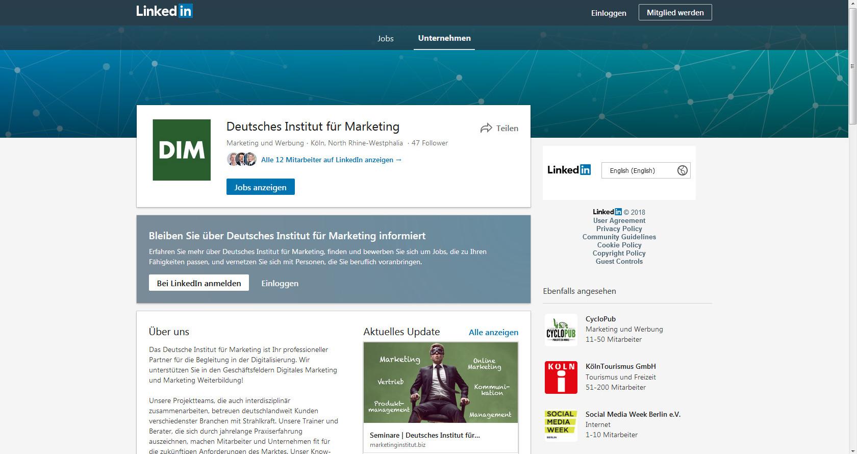 LinkedIn Marketing Profil Deutshes Institut für Marketing