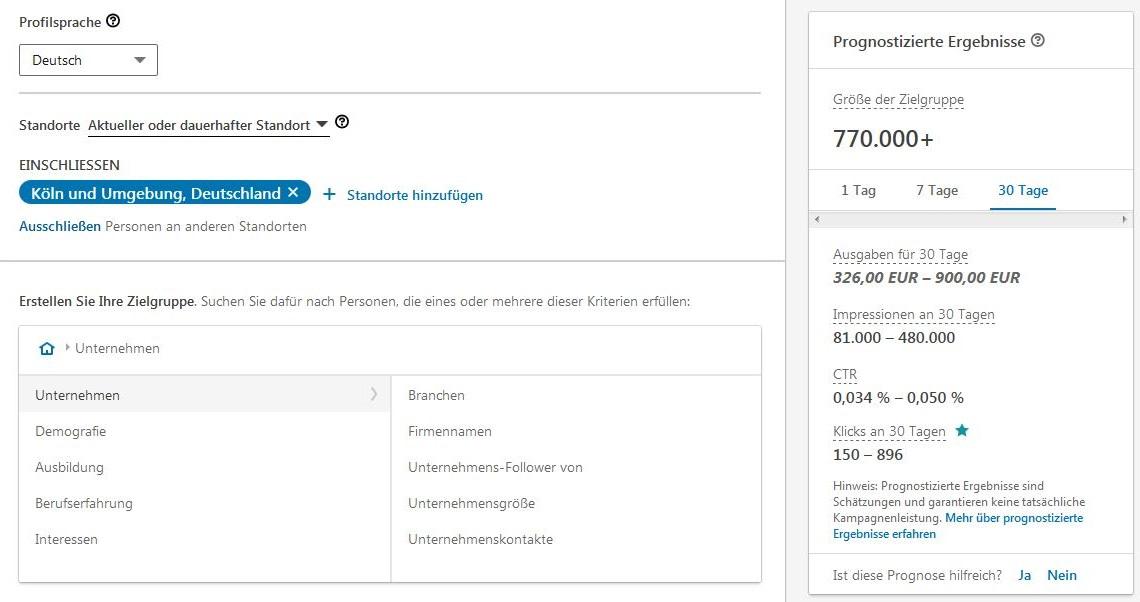 LinkedIn Marketing Ads Zielgruppe