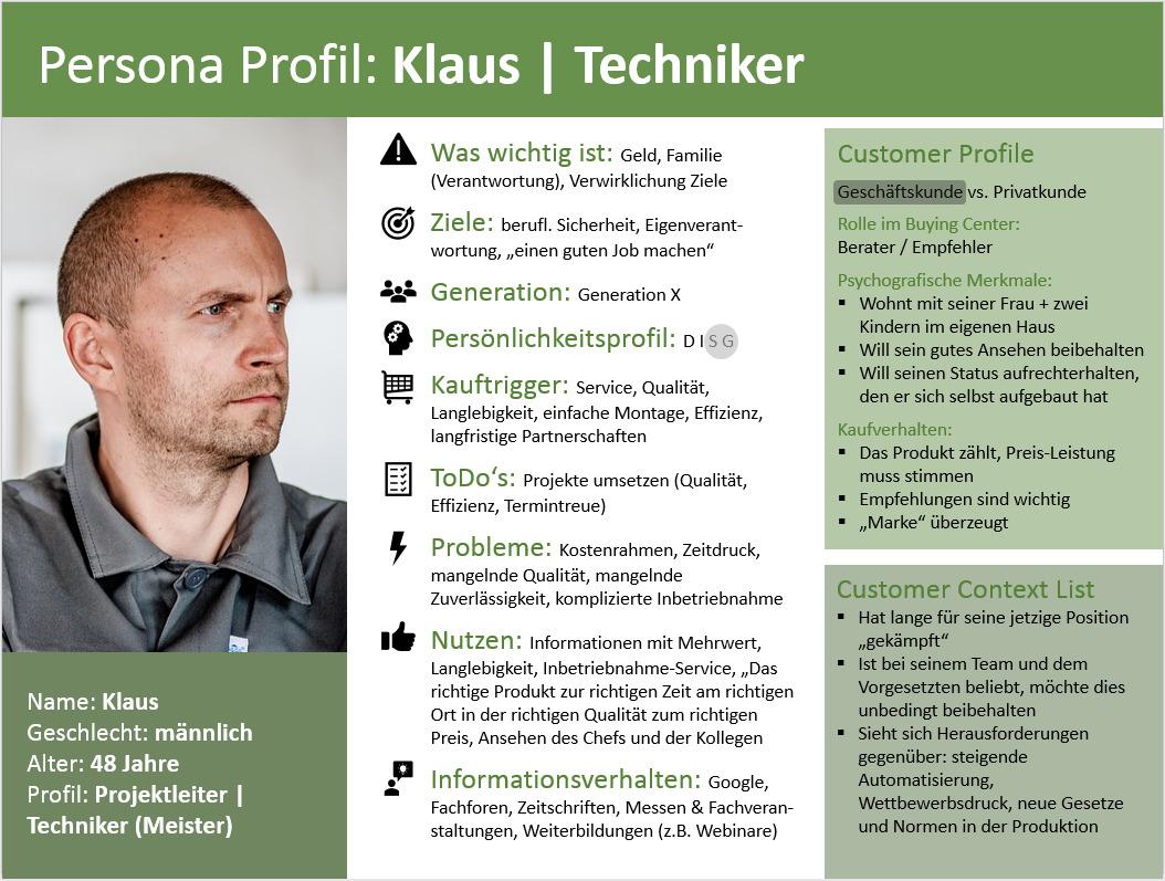 Persona Profil Beispiel
