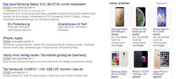 Bildanordnung organische Google Suche