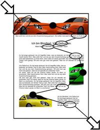 Beispiel 2: Leserichtung im Werbeschreiben