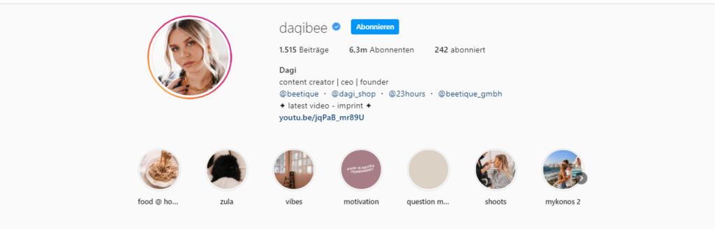 Dagi Bee Instagram
