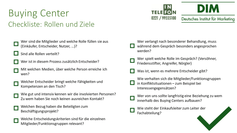 Buying Center Checkliste