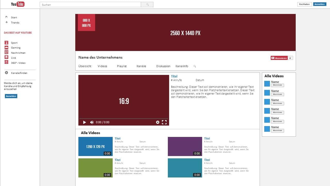 YouTube Kanal Bildgrößen