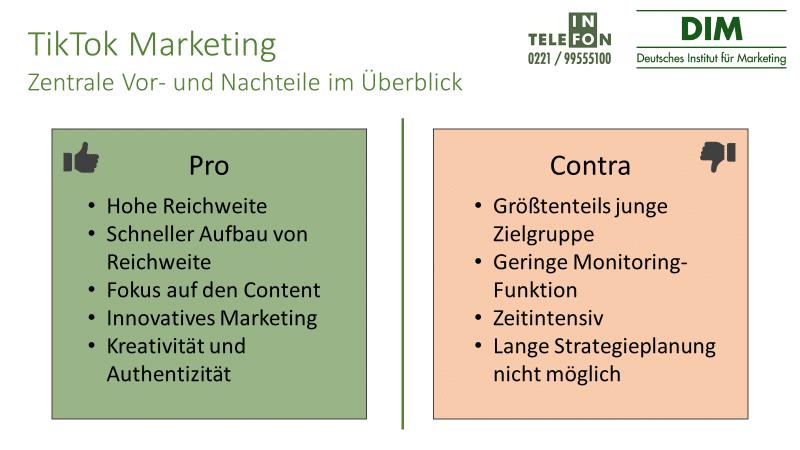 TikTok Marketing Vor- und Nachteile